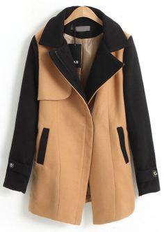 Khaki Lapel Contrast Long Sleeve Pockets Coat - Sheinside.com