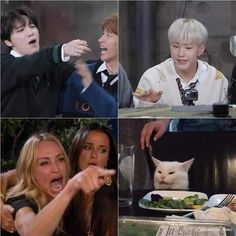 Woozi, Jeonghan, Memes Funny Faces, Funny Kpop Memes, Diecisiete Memes, Choi Hansol, Seventeen Memes, Images Gif, Seventeen Wallpapers