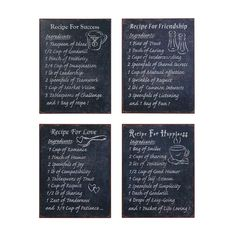 Mix up a perfect batch of friendship, love, and more with the sweet and time-honored recipes on these charming metal plaques. Printed chalkboard-style, with a slate-textured background and chalky typog...  Find the Perfect Recipe Wall Art - Set of 4, as seen in the Decor Clearance Collection at http://dotandbo.com/collections/end-of-summer-sale-decor-clearance?utm_source=pinterest&utm_medium=organic&db_sku=CCO0426