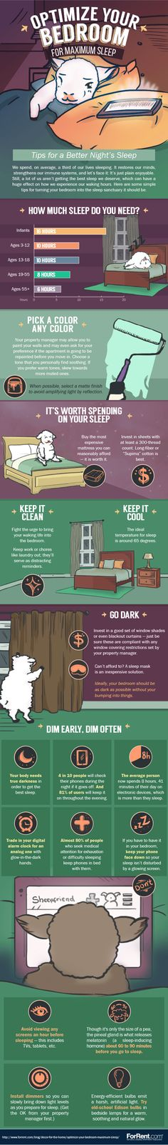 Optimize Your Bedroom For Maximum Sleep  [by ForRent.com -- via #tipsographic]. More at tipsographic.com