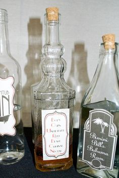 Craft store bottles + old-timey labels = bootlegged liquor