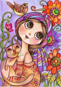ragazza dagli occhi grandi con gatto