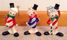 Vintage Christmas ornaments striped candy cane Lantern, Star and Present with bow. Anthropomorphic. Japan