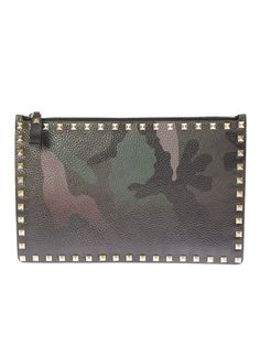 VALENTINO Camouflage Leather Clutch With Bronze Studs. #valentino #bags #leather #clutch #lace #hand bags #