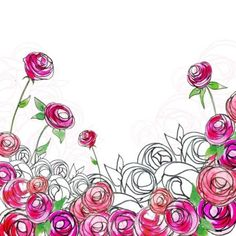 """Victoria Nelson - """"Sketchy Watercolour Roses."""""""