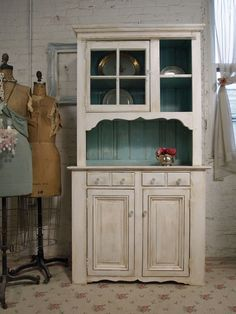 Vintage Painted Cottage Chic Farmhouse Hutch