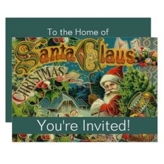 #Santa Vintage Art Print Holiday Party Invitation - #Xmascards #ChristmasEve Christmas Eve #Christmas #merry #xmas #family #holy #kids #gifts #holidays #Santa #cards