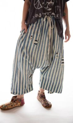 Cotton Denim Jai Wide Leg Trouser with Drawstring Waist and Distressing, Magnolia Pearl Wide Pants, Wide Leg Trousers, Modern Hippie Style, Hippie Chic, Magnolia Pearl, Romantic Outfit, White Outfits, Vintage Costumes, Drawstring Waist