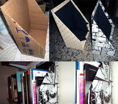decoração com papel contact caixa para organizar
