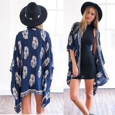 Women Boho Fringe Floral Kimono Cardigan Tassels Beach Cover Up Cape Jacket New #UnbrandedGeneric #Blouse #Casual