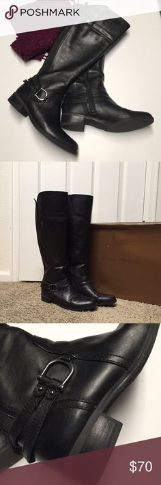 Audrey Brooke Abvicky Boots Women's Black Multi Leather Boots. Boots are a Women's size 8.5 M. Boots are Knee High, stands 18 inches from floor to top of boot. Calf circumference 16 inches. Boots feature a Full Zipper for on/off ease. Brass Horse Shoe Buckle with Double Straps at Ankle and Wraps Heel of Boot. Back of the boot has two 0.5inch material sections that allow for Flexible Calf fit. Material: Leather Upper, Balance Man Made. Style: ABVICKY. MSRP $179.00 Audrey Brooke Shoes Heeled…