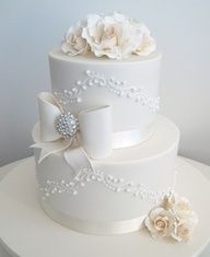 #wedding #Cakes- Bows with some Bling