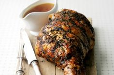 Roast leg of lamb with tarragon and mint butter