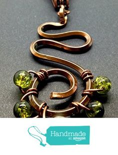 Spring Copper Pendant Wire Wrapped Abstract Green and White from Marokel Industrial Designs http://www.amazon.com/dp/B01BJ5A69Y/ref=hnd_sw_r_pi_dp_CQKTwb0DRBZA9 #handmadeatamazon