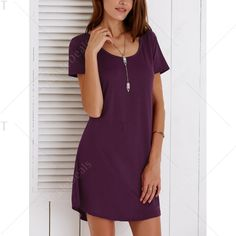 Casual Hollow Out Short Sleeves Scoop Neck Women's Dress   TwinkleDeals.com
