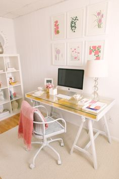 Gold-Desk-DIY. Gold leaf makes everything prettier… learn how to add it to an IKEA desk over at Style Me Pretty. Like the idea of transparent table.