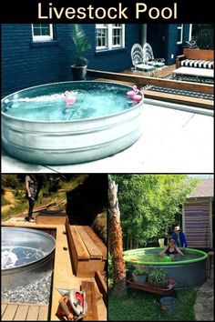 You don't have to spend thousands of dollars for a pool. If you have a livestock tank on hand, here are instructions on how to turn it into a pool in your backyard. Stock Pools, Stock Tank Pool, Outdoor Rooms, Outdoor Gardens, Outdoor Living, Livestock Tank, Garden Yard Ideas, Backyard Ideas, Farm Pond