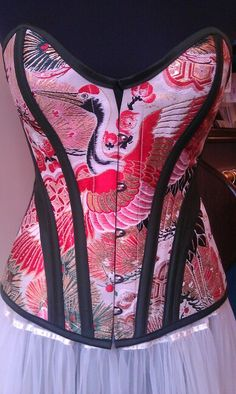 Corset made from vintage  Japanese kimono obi. The fabric dates from around 1920.