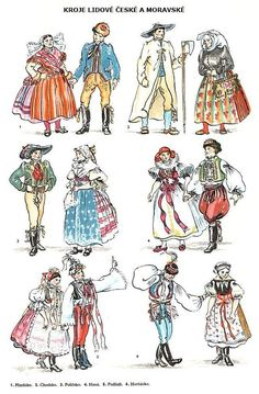 Folk costumes of different regions of Czech Republic - notice the difference caused by different wealth conditions - the modest Western Bohemia (top/right) vs. Bohemia People, Republic Symbol, Costumes Around The World, Legends And Myths, Family Illustration, Winter's Tale, Ballet Costumes, Folk Costume, Czech Republic