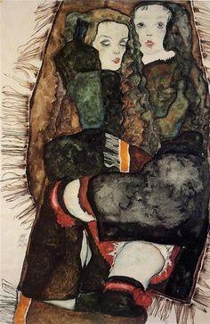Egon Schiele, Due ragazze su una coperta con le frange, 1911, acquarello su carta. Collezione privata.