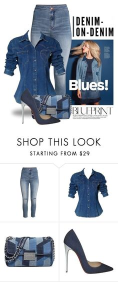 """""""Double Down on Denim 1409"""" by boxthoughts ❤ liked on Polyvore featuring H&M, Moschino, MICHAEL Michael Kors, Christian Louboutin and Denimondenim"""