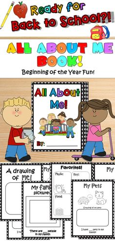 Beginning of the Year: All About Me Book! Need a fun activity for the first week of school? Students will love to create their very own All About Me Booklet! This is also a useful tool to get to know your students. Best suited for Kindergarten - PreK-1st