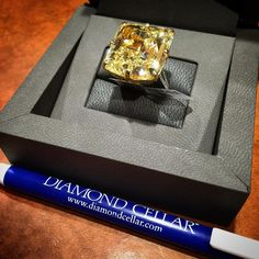 40 carat fancy yellow diamond ring.