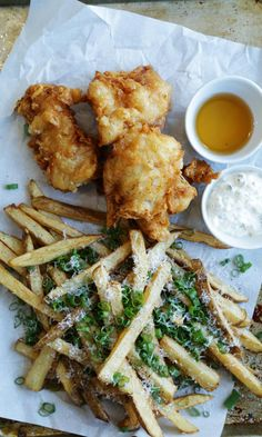 Fish 'n' Chips with Malt Vinegar and Homemade Tartar Sauce!  #FishFry #FishNChips