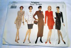 """1990s Below hip jacket dress straight fitted skirt sewing pattern plus size 18 20 22 Bust 40 42 44"""" UNCUT FF by retroactivefuture on Etsy"""