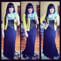 Polka dot scarf, striped shirt, mustard cardigan, black maxi skirt. Modest winter fashion
