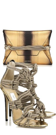 Jimmy Choo 'Dora' Gold/Black Metallic Shaded Python with Knots Clutch Bag & Jimmy Choo Braided Rope Sandal