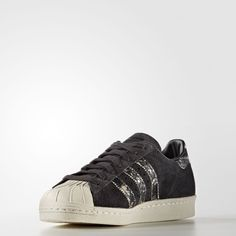 online store 28ab2 3a91f Free Shipping Adidas Superstar 80s Black Trainers NO.S76417