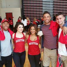 FACES OF BOSTON UNIVERSITY: Boston University Varsity student athletes catching up with members of the BU Cheerleading squad. Photo courtesy of Daryl DeLuca @bostonu @bostonattitude @ApplyToBU @crbrotc @boston_udos @bostonumbb #FacesofBostonUniversity @adma__ @Barkoff_ @matt_gilbert12 by daryl.deluca