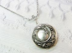 Silver Locket Necklace  Silver Victorian Romance by birdzNbeez, $26.00