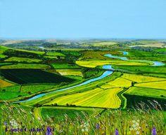 """Mount Caburn Views"" Acrylic painting. (Lewes) .ORIGINAL ART by Paula Oakley: Sussex paintings"