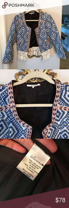 """Tularosa Santa Fe Fringe Jacket Size small. From Tularosa, bought at Revolve. I am in the pictures and am 5'3"""", 115lb for reference on the sizing of the jacket. Tularosa Jackets & Coats"""