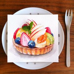 kyoko_a_art Watercolor Food, Watercolor Artists, Food Tattoos, Bakery Branding, Dessert Illustration, Chibi Food, Food Sketch, Food Icons, Food Concept