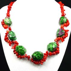 Ruby In Zoisite Red Fossil Coral Necklace by CherryGemstone, $5.99