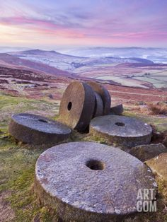 Stanage Edge Wheelstones (Millstones) and Frosty Winter Moorland Sunrise, Peak District National Pa Photographic Print from Neale Clark Peak District, English Countryside, Derbyshire, Landscape Photography, Scenic Photography, Aerial Photography, Night Photography, Landscape Photos, United Kingdom