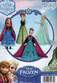 """Simplicity 1234 Free Us Ship 11.5"""" Fashion Barbie Doll Clothes Wardrobe Disney Frozen Costume New Sewing Pattern Out of Print Uncut New by LanetzLiving on Etsy"""