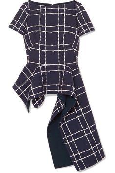 Oscar de la Renta | Asymmetric embroidered cotton-blend top | NET-A-PORTER.COM