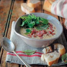For a vegetarian option, leave out the bacon from this delicious cauliflower soup.