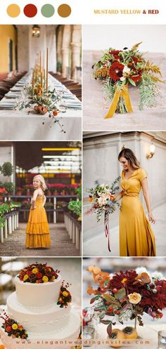Trend Forecasting: Top 15 Expected Wedding Color Ideas for 2019 - Pouted Magazine - Wedding Colors Mustard Yellow Wedding, Orange Wedding, Burgundy Wedding, Mustard Wedding Theme, Red Fall Weddings, Fall Wedding Colors, Wedding Color Schemes, Wedding Flowers, Fairy Wedding Dress