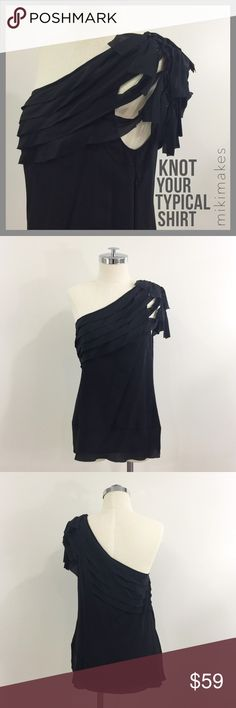 "🆕 BCBG • NWT one shoulder black silk knotted top • gorgeous and unique black silk top from BCBG • one shoulder with very nice knitting detail at the shoulder • layered silk panels drape from the shoulder around the body • slightly loose fit • invisible side zip closure  100% silk  ✂️  Bust = 39"" ✂️  Waist = 37"" ✂️  Length = 25.5""  • sorry no trades • please feel free to ask any questions  ❤️ @mikimakes BCBGMaxAzria Tops Blouses"