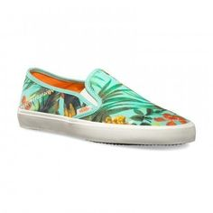 Vans Comina Women'S Shoes Vzttfof Classic Slip On Tropical Parrot Beach Low
