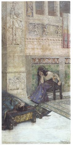 Semiramis staring at the corpse of Ara the Beautiful. Painting by Vardges Sureniants (1860-1921).