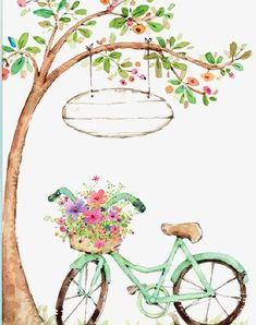 Bicycle with flowers illustration in watercolor Bicycle Painting, Bicycle Art, Graffiti Kunst, Happy Birthday Greetings, Birthday Wishes Gif, Happy B Day, Birthday Images, Watercolor Paintings, Decoupage