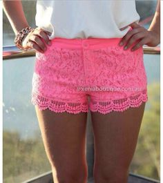 Pink lace shorts...Pretty