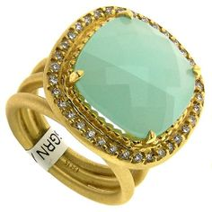 20% off all in-stock gemstone sale!  18 kt. yellow gold and green chalcedony AVA ring with  round diamonds