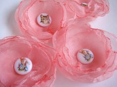 Girl's Flower Hair Clips with Peter Rabbit Buttons by purplmama, $16.50